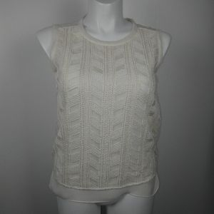Vince cream embroidered sleeveless top sz M
